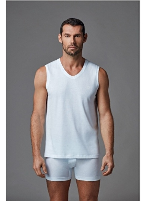 Dagi V Yaka Kolsuz T-Shirt 2'li Beyaz